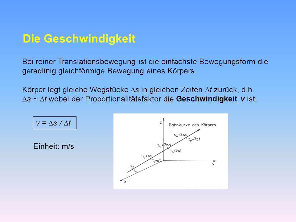 Weg-Zeit-Diagramm: die vom Körper zurückgelegte Wegstrecke s auf der Bahnkurve lässt sich als Funktion der Zeit angeben - s = f(t) ist linear in der Zeit t Die Geschwindigkeit v ist wie der Weg s ein Vektor und kann aus Komponenten zusammengesetzt dargestellt werden