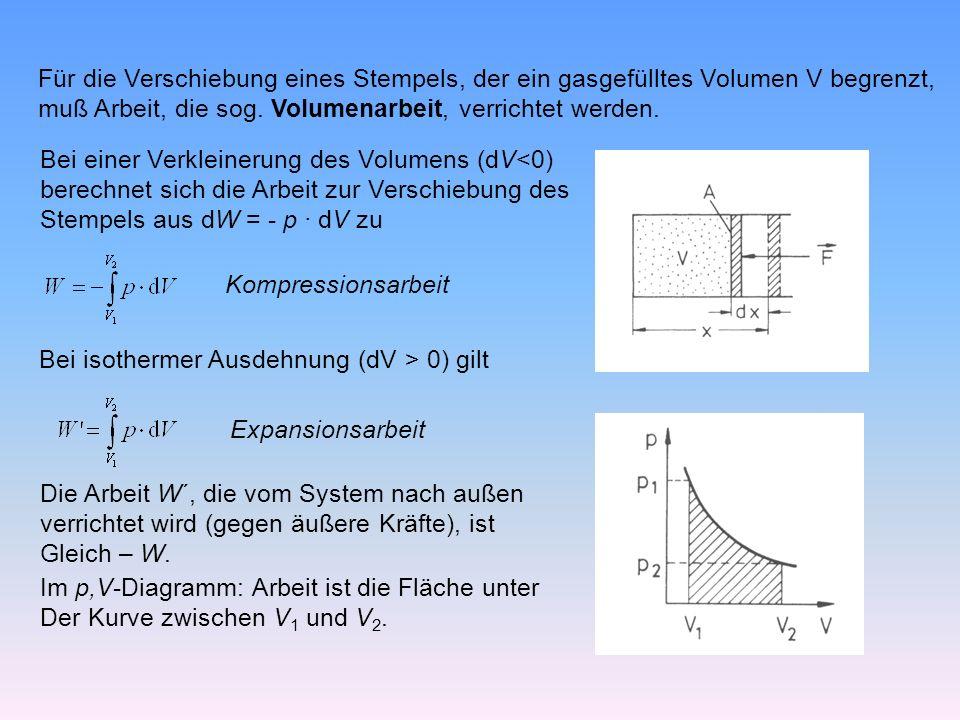 Für die Verschiebung eines Stempels, der ein gasgefülltes Volumen V begrenzt, muß Arbeit, die sog.