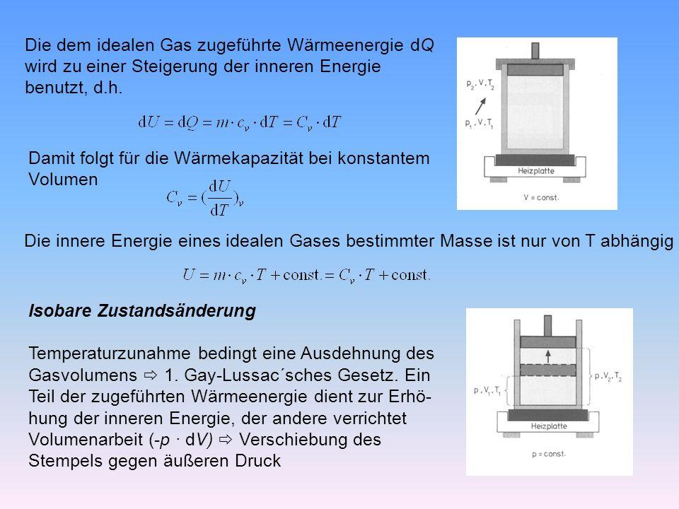 Die dem idealen Gas zugeführte Wärmeenergie dQ wird zu einer Steigerung der inneren Energie benutzt, d.h.