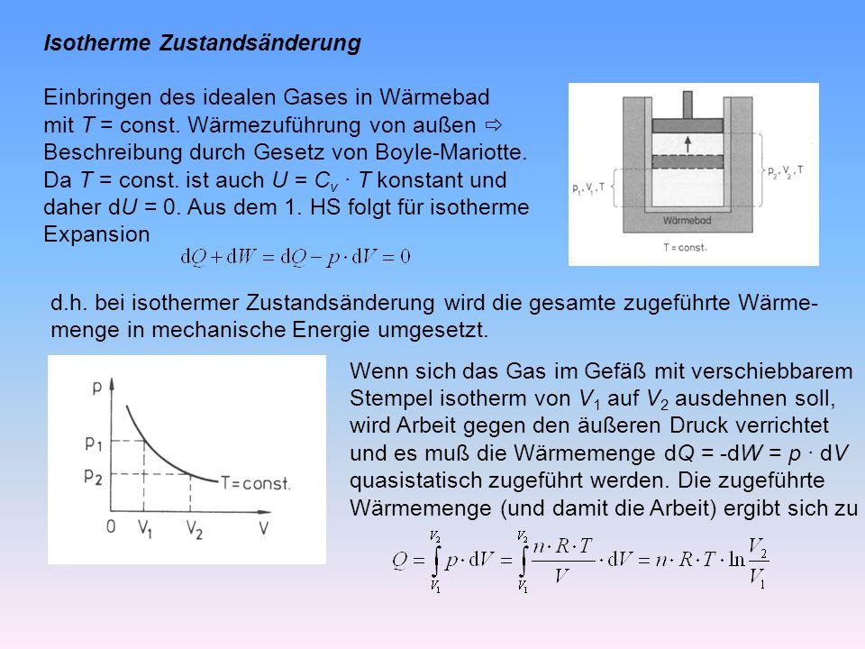 Isotherme Zustandsänderung Einbringen des idealen Gases in Wärmebad mit T = const.