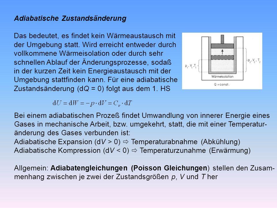 Adiabatische Zustandsänderung Das bedeutet, es findet kein Wärmeaustausch mit der Umgebung statt.