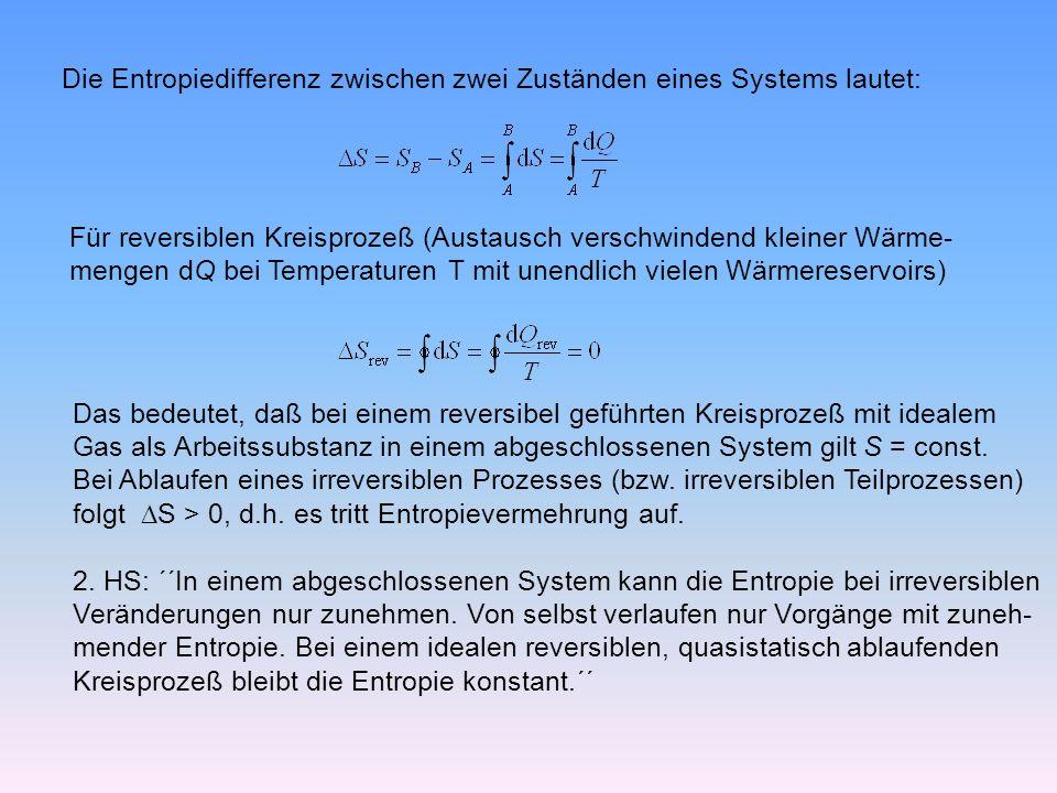 Die Entropiedifferenz zwischen zwei Zuständen eines Systems lautet: Für reversiblen Kreisprozeß (Austausch verschwindend kleiner Wärme- mengen dQ bei Temperaturen T mit unendlich vielen Wärmereservoirs) Das bedeutet, daß bei einem reversibel geführten Kreisprozeß mit idealem Gas als Arbeitssubstanz in einem abgeschlossenen System gilt S = const.