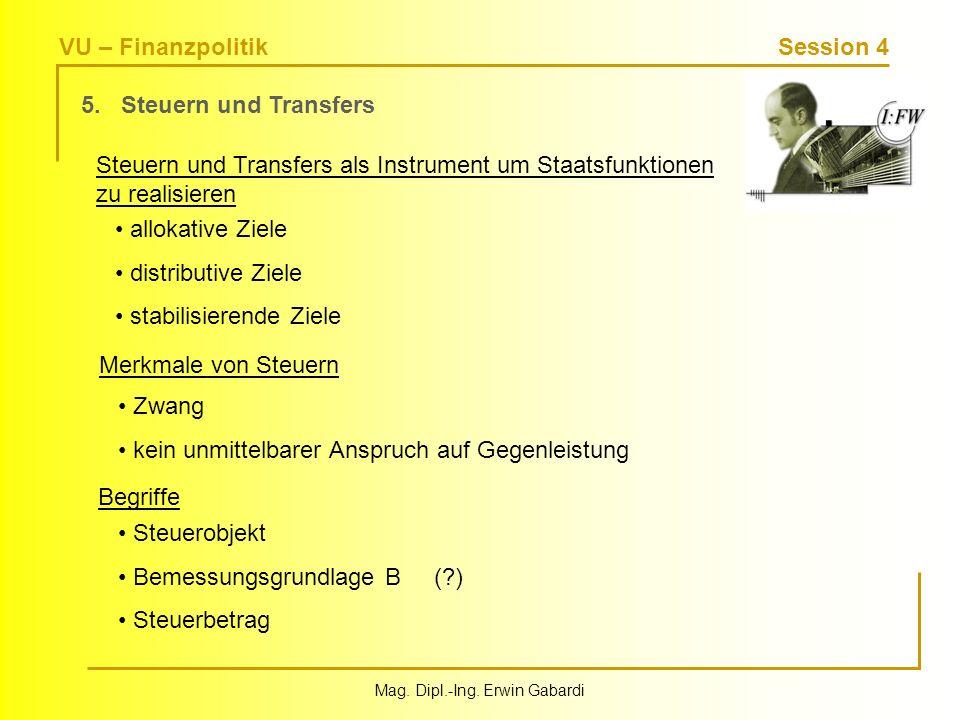VU – Finanzpolitik Session 4 Mag. Dipl.-Ing. Erwin Gabardi 5. Steuern und Transfers Steuern und Transfers als Instrument um Staatsfunktionen zu realis