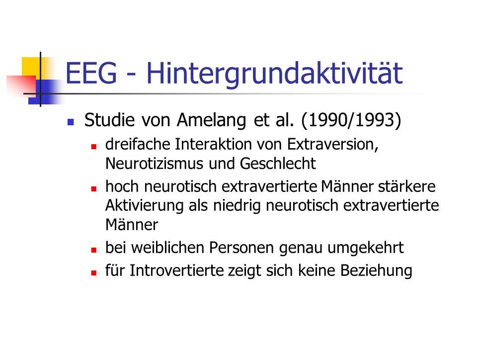 EEG - Hintergrundaktivität Studie von Amelang et al. (1990/1993) dreifache Interaktion von Extraversion, Neurotizismus und Geschlecht hoch neurotisch