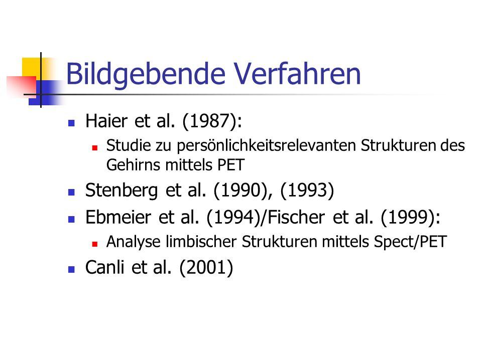 Bildgebende Verfahren Haier et al. (1987): Studie zu persönlichkeitsrelevanten Strukturen des Gehirns mittels PET Stenberg et al. (1990), (1993) Ebmei