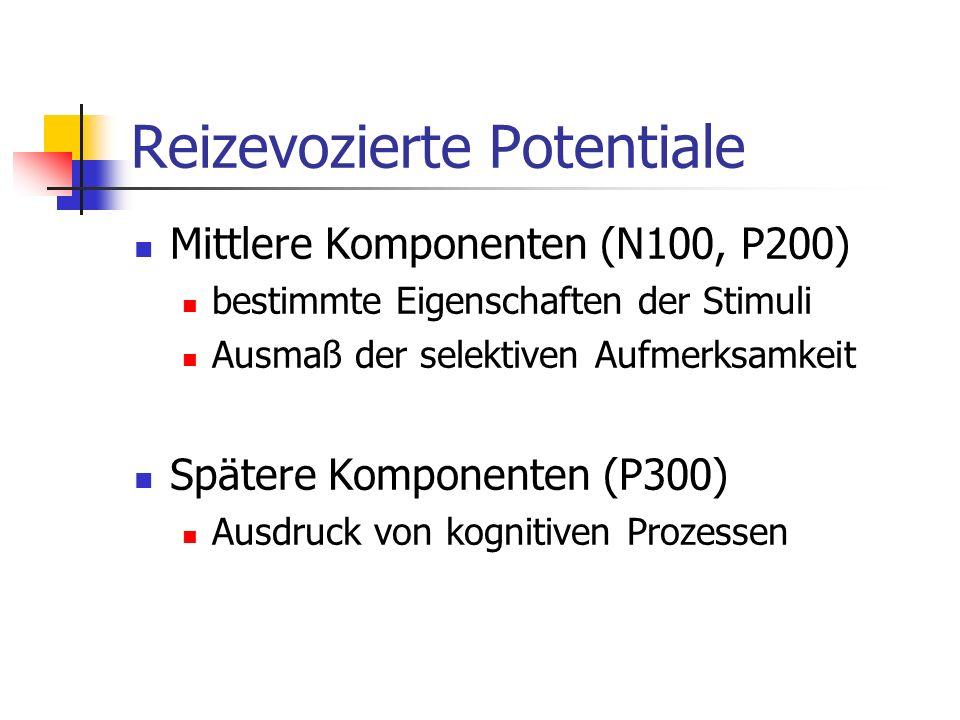 Reizevozierte Potentiale Mittlere Komponenten (N100, P200) bestimmte Eigenschaften der Stimuli Ausmaß der selektiven Aufmerksamkeit Spätere Komponente