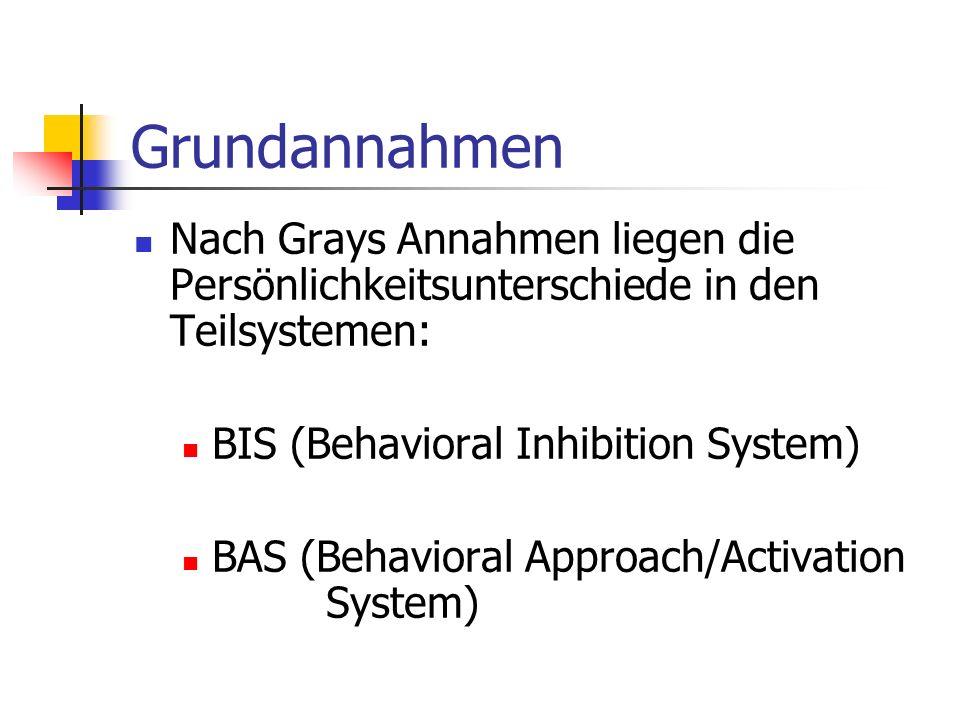 Grundannahmen Nach Grays Annahmen liegen die Persönlichkeitsunterschiede in den Teilsystemen: BIS (Behavioral Inhibition System) BAS (Behavioral Appro