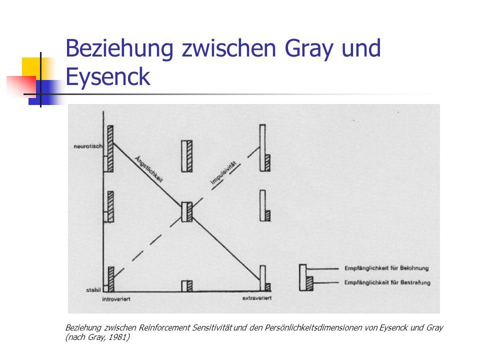 Beziehung zwischen Gray und Eysenck Beziehung zwischen Reinforcement Sensitivität und den Persönlichkeitsdimensionen von Eysenck und Gray (nach Gray,
