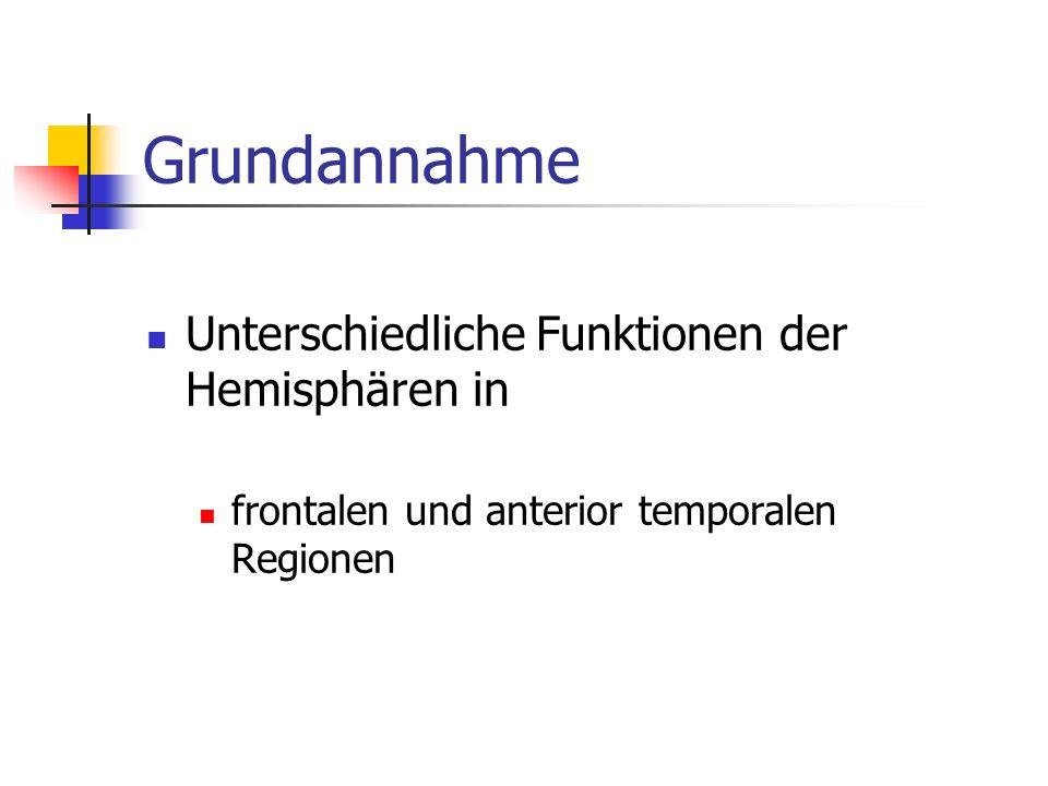 Grundannahme Unterschiedliche Funktionen der Hemisphären in frontalen und anterior temporalen Regionen