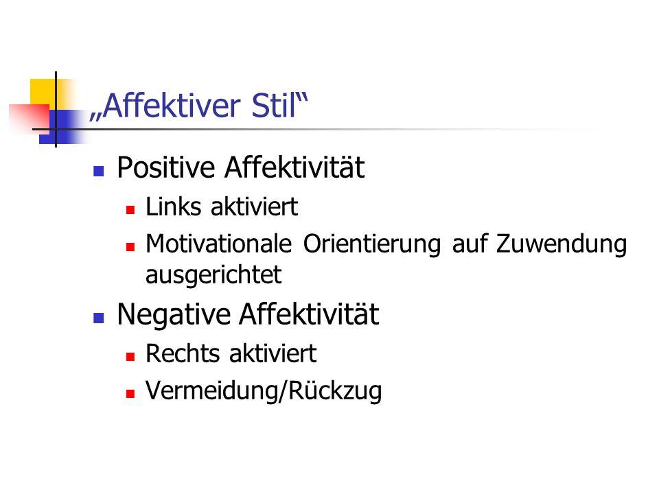 Affektiver Stil Positive Affektivität Links aktiviert Motivationale Orientierung auf Zuwendung ausgerichtet Negative Affektivität Rechts aktiviert Ver