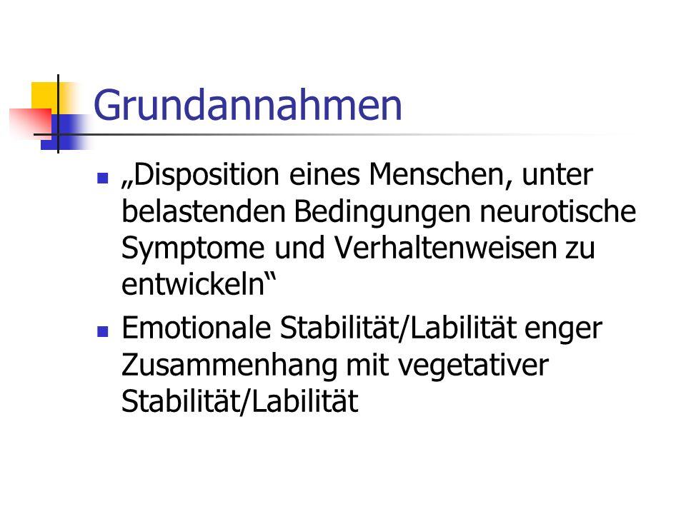 Grundannahmen Disposition eines Menschen, unter belastenden Bedingungen neurotische Symptome und Verhaltenweisen zu entwickeln Emotionale Stabilität/L