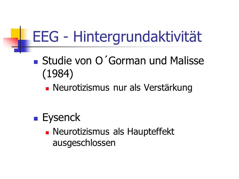 EEG - Hintergrundaktivität Studie von O´Gorman und Malisse (1984) Neurotizismus nur als Verstärkung Eysenck Neurotizismus als Haupteffekt ausgeschloss