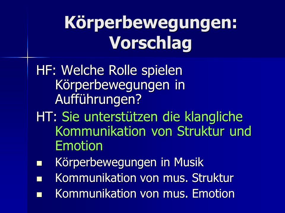 Körperbewegungen: Vorschlag HF: Welche Rolle spielen Körperbewegungen in Aufführungen? HT: Sie unterstützen die klangliche Kommunikation von Struktur