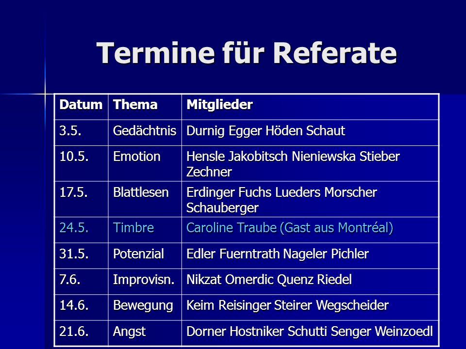 Termine für Referate DatumThemaMitglieder 3.5.Gedächtnis Durnig Egger Höden Schaut 10.5.Emotion Hensle Jakobitsch Nieniewska Stieber Zechner 17.5.Blat