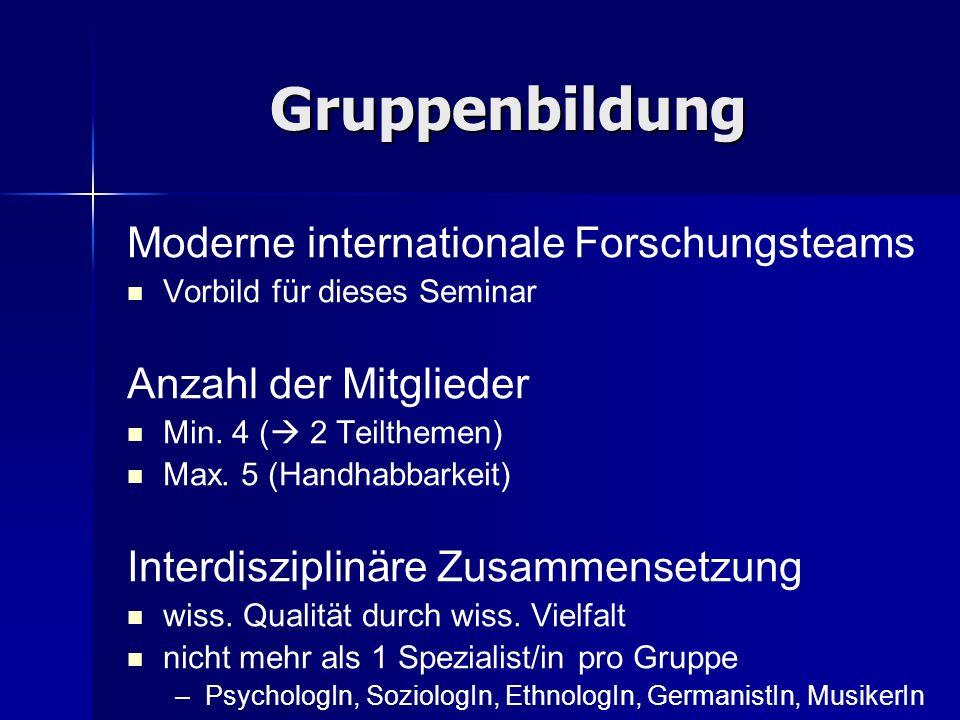 Gruppenbildung Moderne internationale Forschungsteams Vorbild für dieses Seminar Anzahl der Mitglieder Min. 4 ( 2 Teilthemen) Max. 5 (Handhabbarkeit)