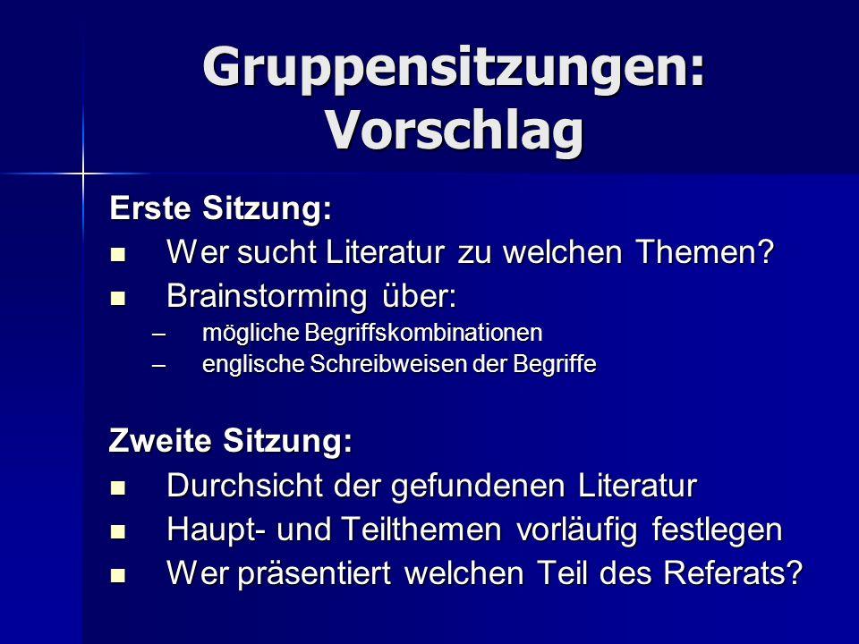 Gruppensitzungen: Vorschlag Erste Sitzung: Wer sucht Literatur zu welchen Themen? Wer sucht Literatur zu welchen Themen? Brainstorming über: Brainstor