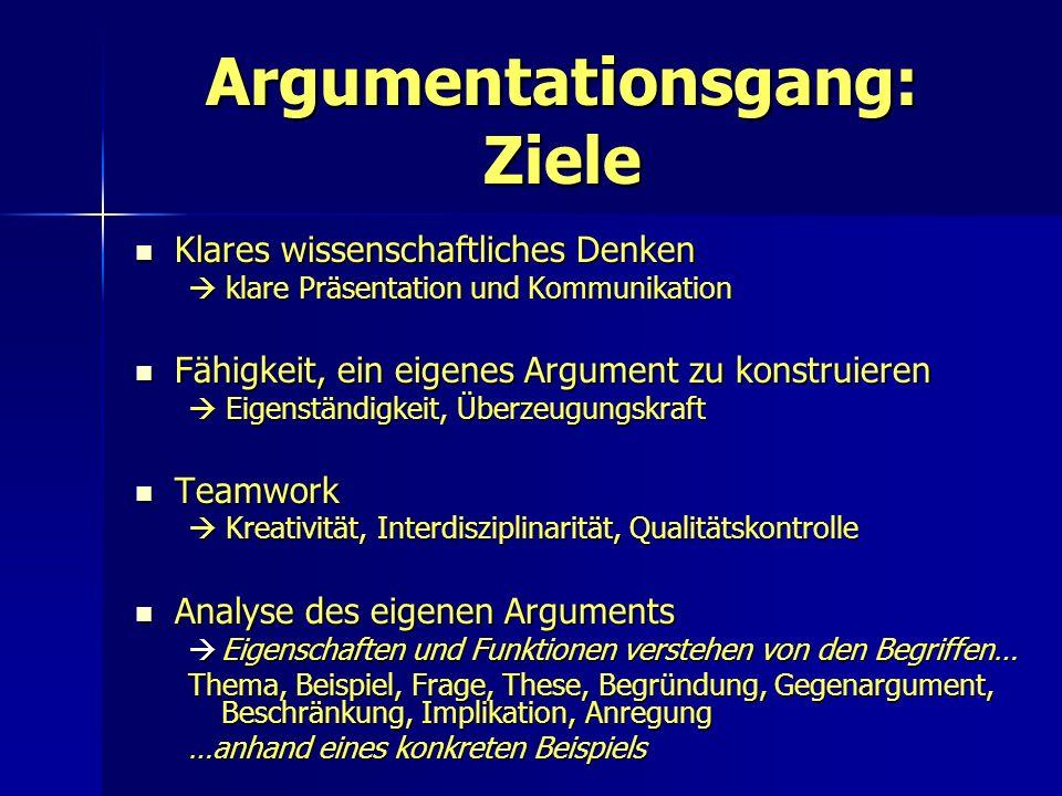 Argumentationsgang: Ziele Klares wissenschaftliches Denken Klares wissenschaftliches Denken klare Präsentation und Kommunikation klare Präsentation un