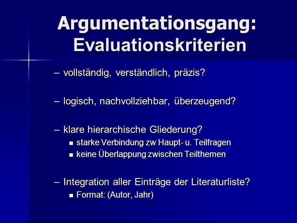 Argumentationsgang: Evaluationskriterien –vollständig, verständlich, präzis? –logisch, nachvollziehbar, überzeugend? –klare hierarchische Gliederung?