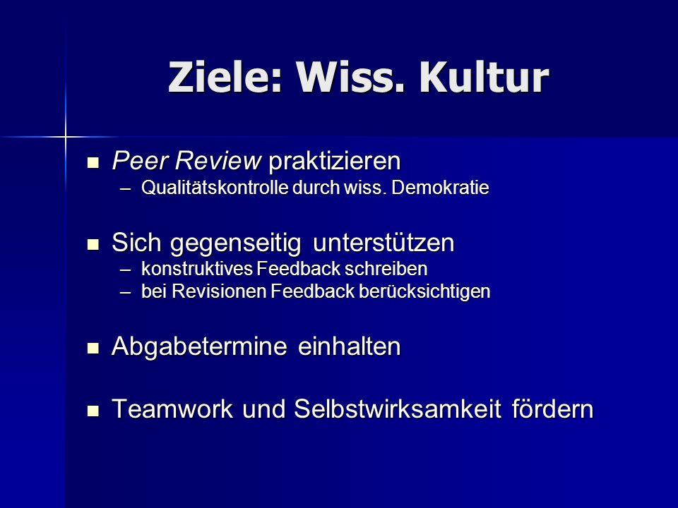 Ziele: Wiss. Kultur Peer Review praktizieren Peer Review praktizieren –Qualitätskontrolle durch wiss. Demokratie Sich gegenseitig unterstützen Sich ge