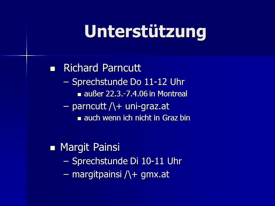 Unterstützung Richard Parncutt Richard Parncutt –Sprechstunde Do 11-12 Uhr außer 22.3.-7.4.06 in Montreal außer 22.3.-7.4.06 in Montreal –parncutt /\+