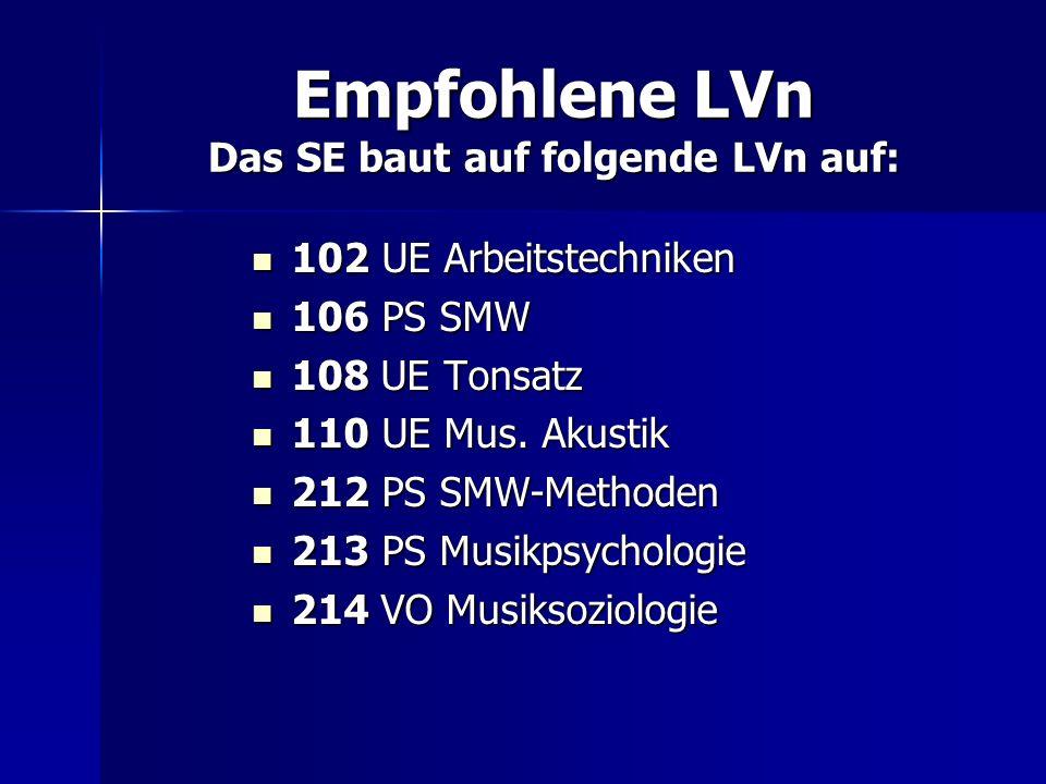 Empfohlene LVn Das SE baut auf folgende LVn auf: 102 UE Arbeitstechniken 102 UE Arbeitstechniken 106 PS SMW 106 PS SMW 108 UE Tonsatz 108 UE Tonsatz 1