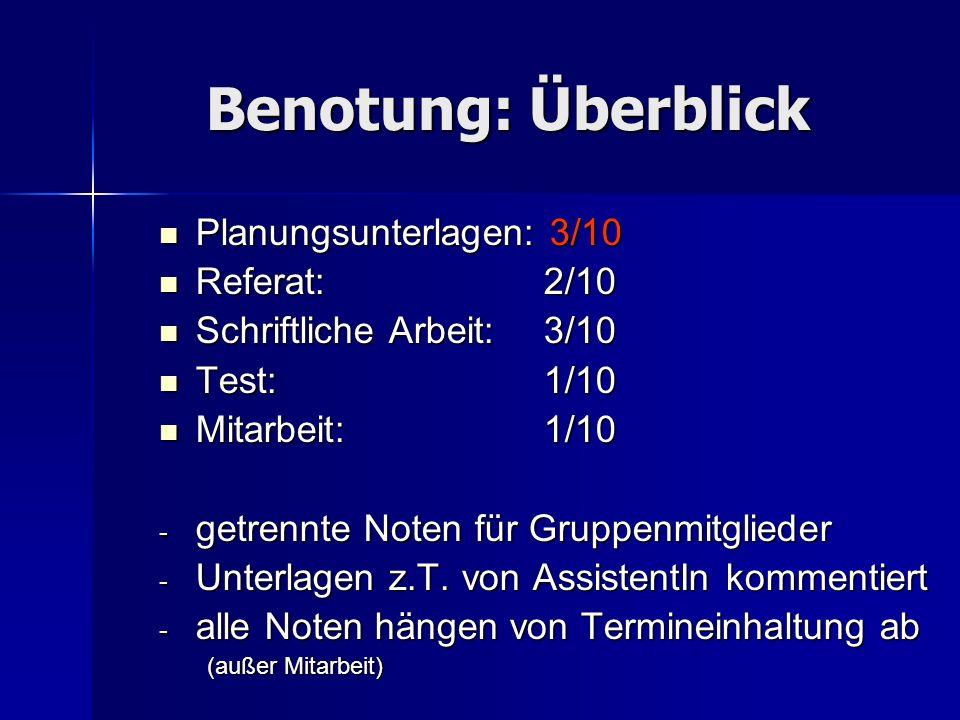 Benotung: Detail AnforderungBenotungskriterien (Auswahl) Planung1.