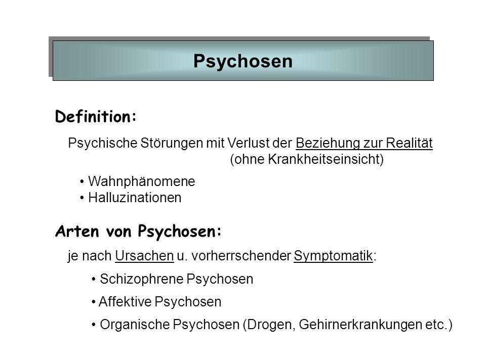 Psychosen Definition: Psychische Störungen mit Verlust der Beziehung zur Realität (ohne Krankheitseinsicht) Wahnphänomene Halluzinationen je nach Ursa