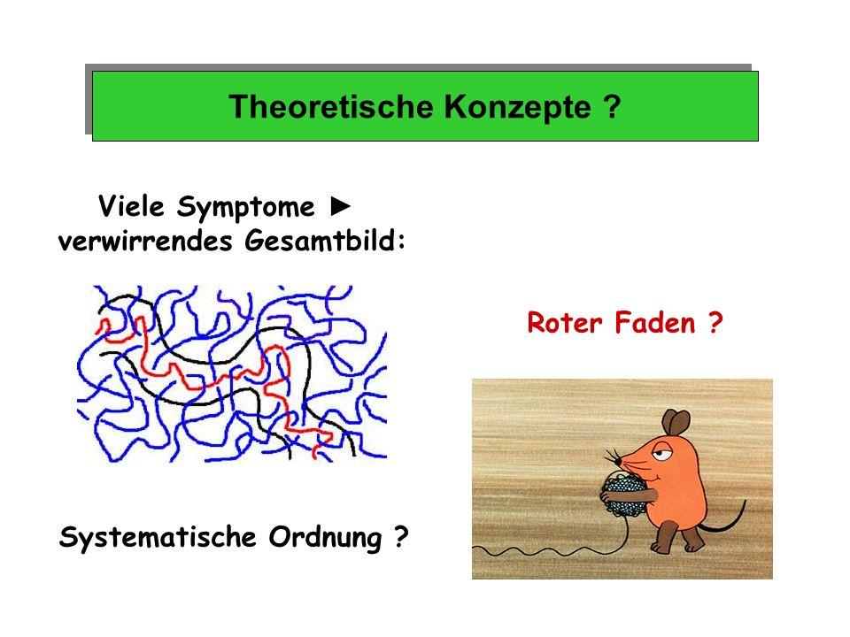 Theoretische Konzepte ? Viele Symptome verwirrendes Gesamtbild: Roter Faden ? Systematische Ordnung ?