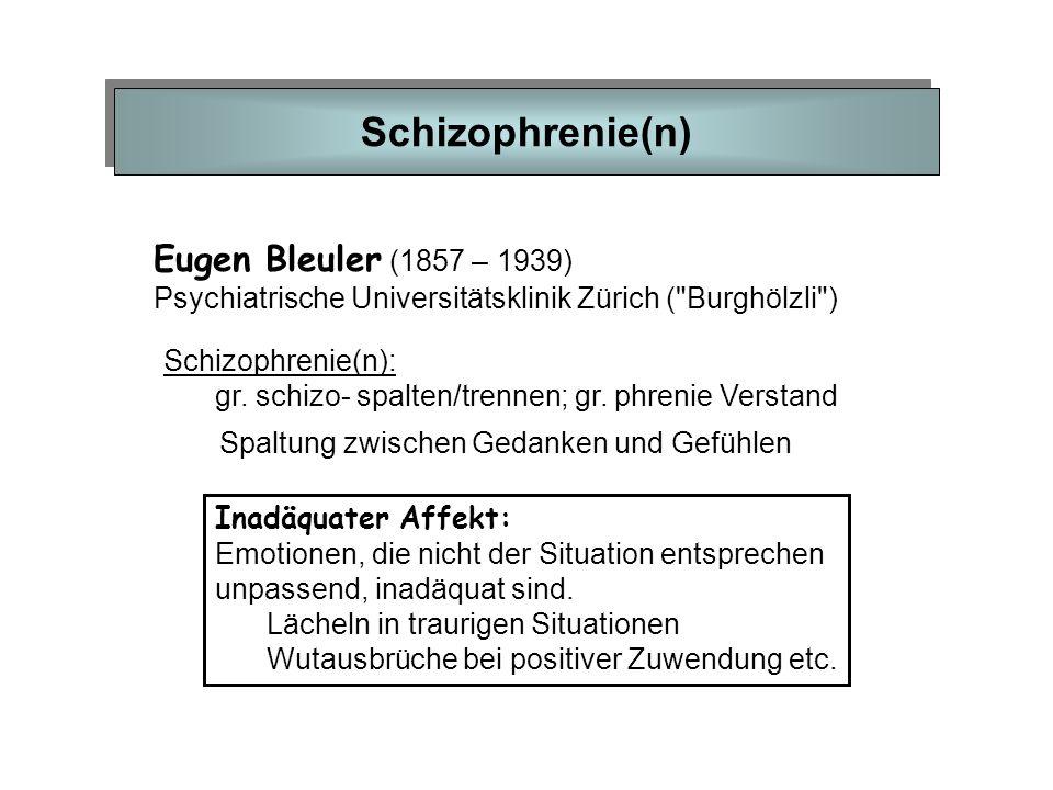 Schizophrenie(n) Eugen Bleuler (1857 – 1939) Psychiatrische Universitätsklinik Zürich (