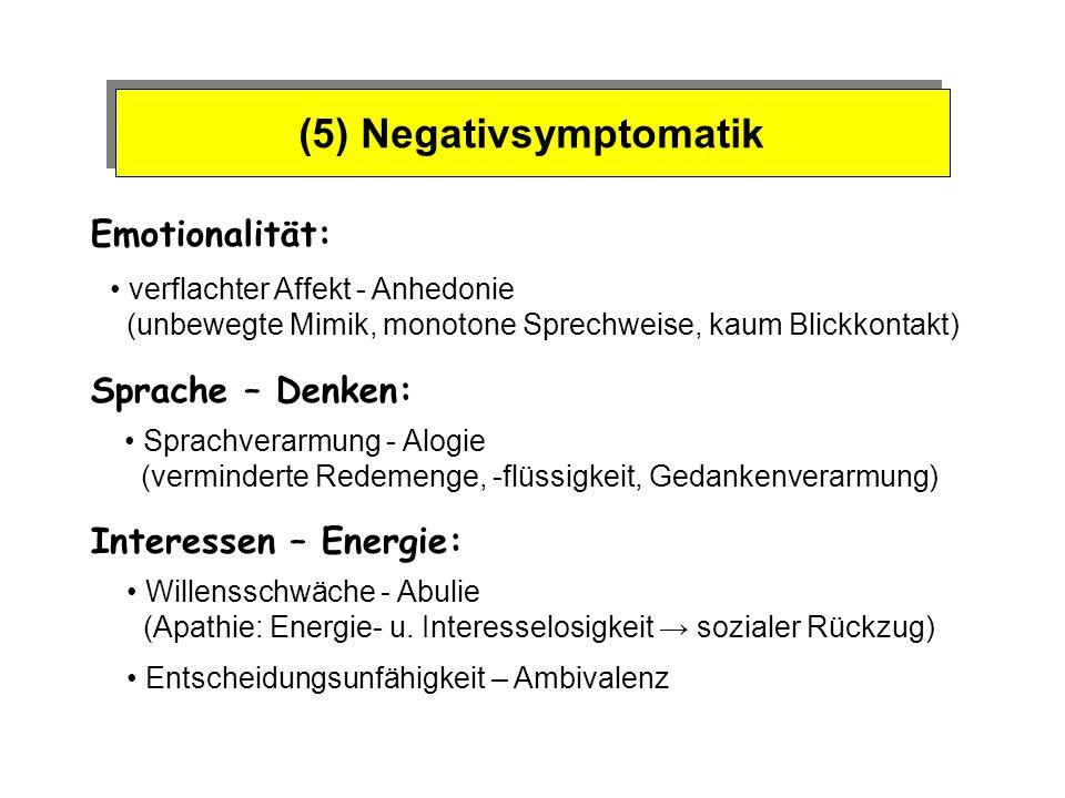 (5) Negativsymptomatik Emotionalität: Sprache – Denken: verflachter Affekt - Anhedonie (unbewegte Mimik, monotone Sprechweise, kaum Blickkontakt) Spra