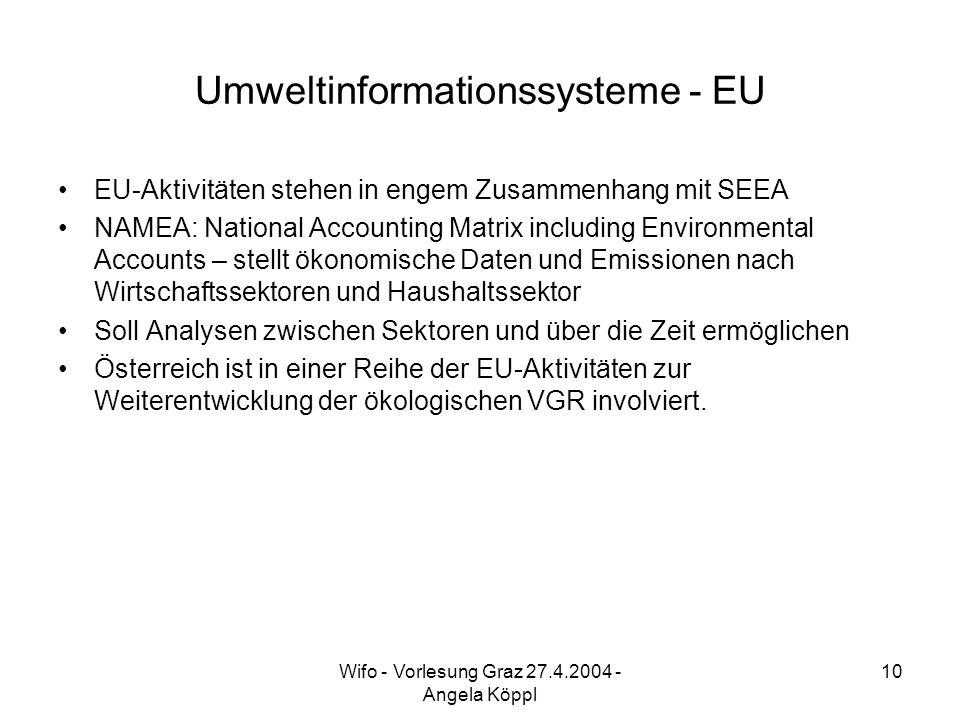 Wifo - Vorlesung Graz 27.4.2004 - Angela Köppl 10 Umweltinformationssysteme - EU EU-Aktivitäten stehen in engem Zusammenhang mit SEEA NAMEA: National Accounting Matrix including Environmental Accounts – stellt ökonomische Daten und Emissionen nach Wirtschaftssektoren und Haushaltssektor Soll Analysen zwischen Sektoren und über die Zeit ermöglichen Österreich ist in einer Reihe der EU-Aktivitäten zur Weiterentwicklung der ökologischen VGR involviert.