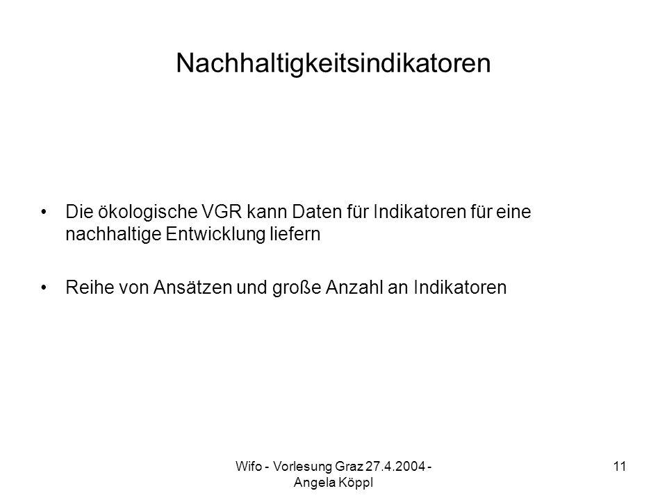 Wifo - Vorlesung Graz 27.4.2004 - Angela Köppl 11 Nachhaltigkeitsindikatoren Die ökologische VGR kann Daten für Indikatoren für eine nachhaltige Entwicklung liefern Reihe von Ansätzen und große Anzahl an Indikatoren