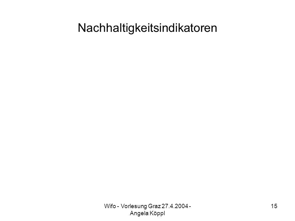 Wifo - Vorlesung Graz 27.4.2004 - Angela Köppl 15 Nachhaltigkeitsindikatoren