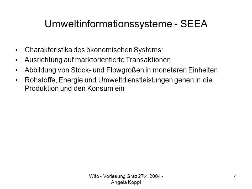 Wifo - Vorlesung Graz 27.4.2004 - Angela Köppl 4 Umweltinformationssysteme - SEEA Charakteristika des ökonomischen Systems: Ausrichtung auf marktorientierte Transaktionen Abbildung von Stock- und Flowgrößen in monetären Einheiten Rohstoffe, Energie und Umweltdienstleistungen gehen in die Produktion und den Konsum ein