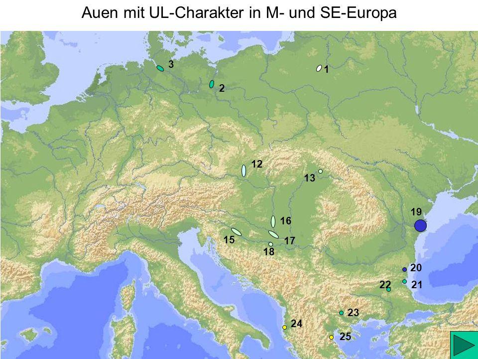Auen mit UL-Charakter in M- und SE-Europa 1 2 3 12 22 19 20 21 24 25 15 17 16 18 13 23