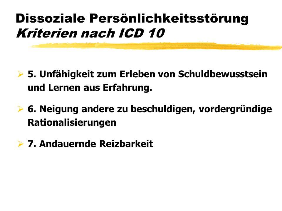 Dissoziale Persönlichkeitsstörung Kriterien nach ICD 10 5. Unfähigkeit zum Erleben von Schuldbewusstsein und Lernen aus Erfahrung. 6. Neigung andere z