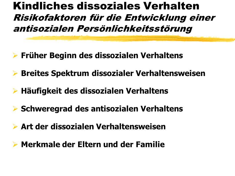 Kindliches dissoziales Verhalten Risikofaktoren für die Entwicklung einer antisozialen Persönlichkeitsstörung Früher Beginn des dissozialen Verhaltens