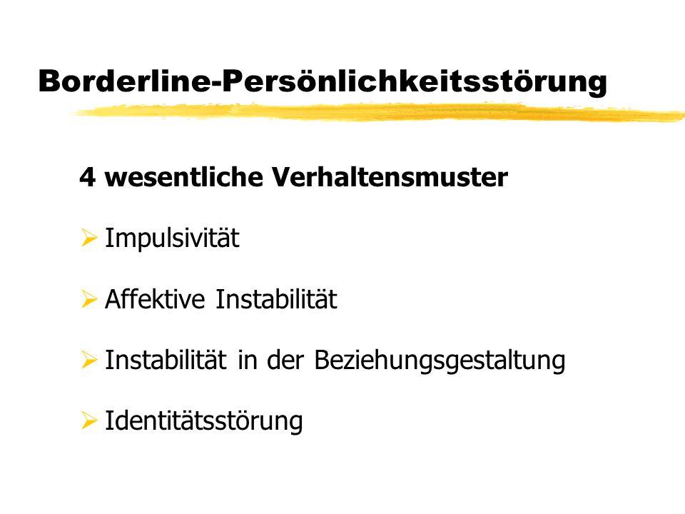Borderline-Persönlichkeitsstörung 4 wesentliche Verhaltensmuster Impulsivität Affektive Instabilität Instabilität in der Beziehungsgestaltung Identitä