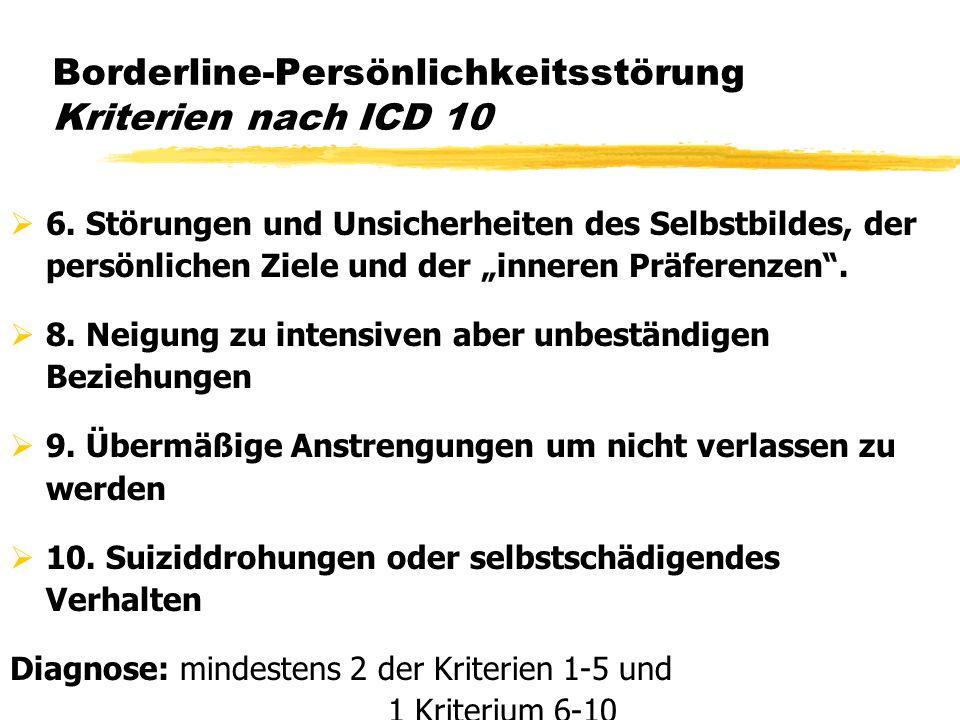 Borderline-Persönlichkeitsstörung Kriterien nach ICD 10 6. Störungen und Unsicherheiten des Selbstbildes, der persönlichen Ziele und der inneren Präfe