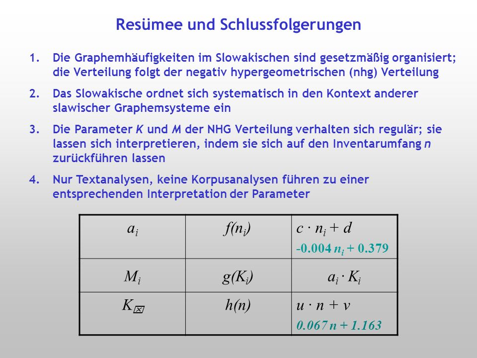 Abhängigkeit des Faktors a i von n i a i = c n i + d a i = c n i d Slowenisch n 1 = 25M 1 = 0.2823 K 1 Russisch n 2 = 32M 2 = 0.2434 K 2 n 3 = 33M 3 = 0.2529 K 3 Slowakisch n 4 = 43M 4 = 0.2123 K 4 n 5 = 46M 5 = 0.1953 K 5 r =.99 ( p = 0.001)