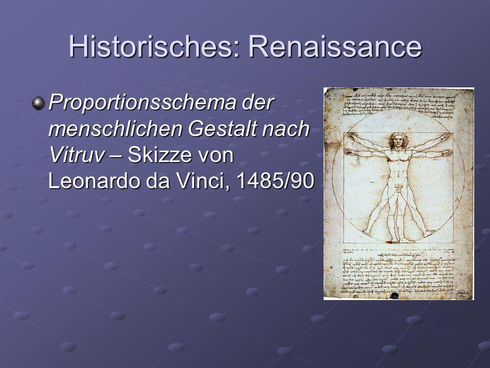 Historisches: Renaissance Proportionsschema der menschlichen Gestalt nach Vitruv – Skizze von Leonardo da Vinci, 1485/90