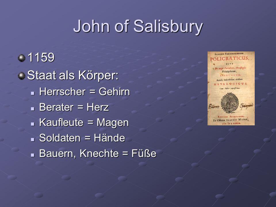 John of Salisbury 1159 Staat als Körper: Herrscher = Gehirn Herrscher = Gehirn Berater = Herz Berater = Herz Kaufleute = Magen Kaufleute = Magen Soldaten = Hände Soldaten = Hände Bauern, Knechte = Füße Bauern, Knechte = Füße