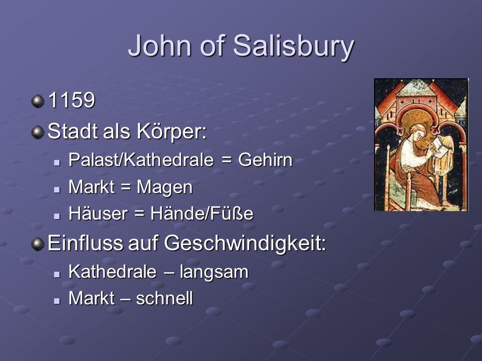 John of Salisbury 1159 Stadt als Körper: Palast/Kathedrale = Gehirn Palast/Kathedrale = Gehirn Markt = Magen Markt = Magen Häuser = Hände/Füße Häuser = Hände/Füße Einfluss auf Geschwindigkeit: Kathedrale – langsam Kathedrale – langsam Markt – schnell Markt – schnell