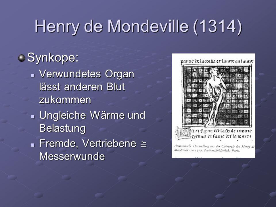 Henry de Mondeville (1314) Synkope: Verwundetes Organ lässt anderen Blut zukommen Verwundetes Organ lässt anderen Blut zukommen Ungleiche Wärme und Belastung Ungleiche Wärme und Belastung Fremde, Vertriebene Messerwunde Fremde, Vertriebene Messerwunde