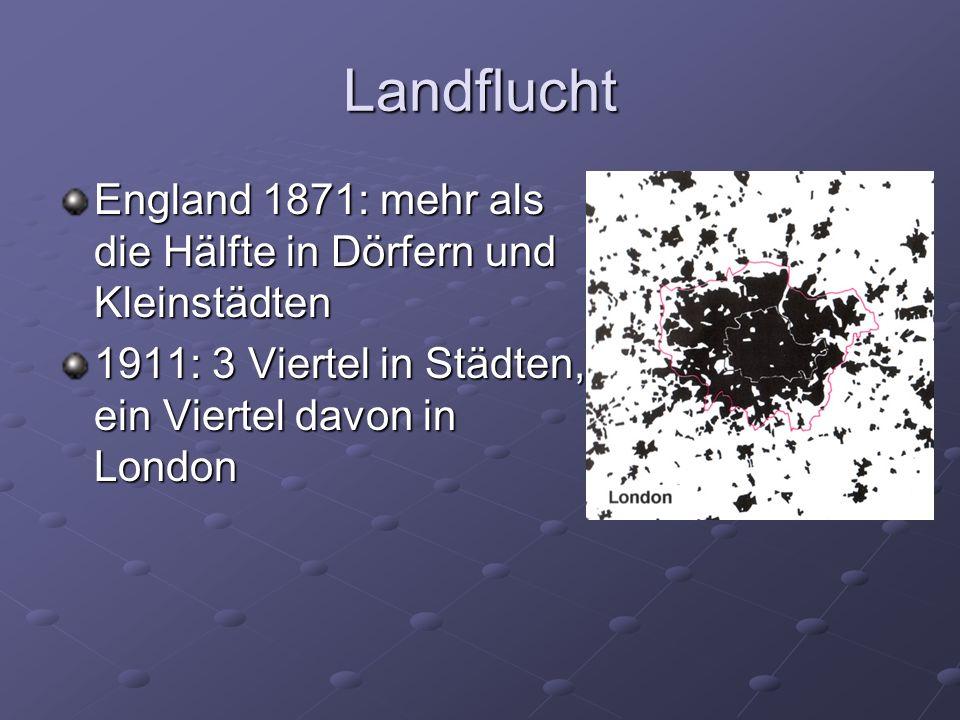 Landflucht England 1871: mehr als die Hälfte in Dörfern und Kleinstädten 1911: 3 Viertel in Städten, ein Viertel davon in London
