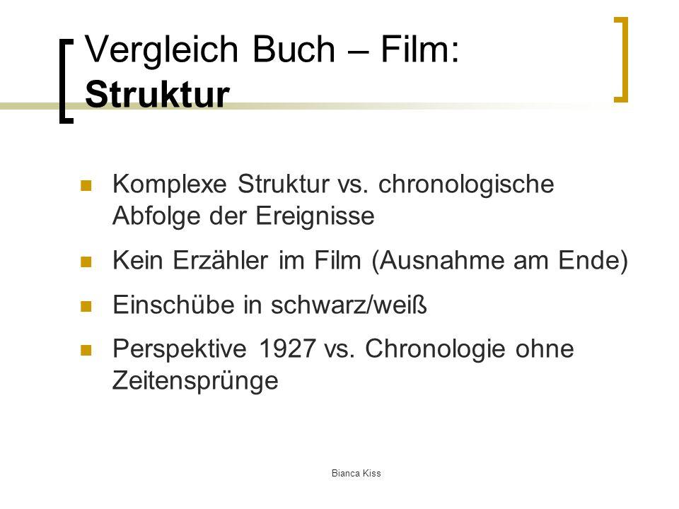 Bianca Kiss Vergleich Buch – Film: Struktur Komplexe Struktur vs.