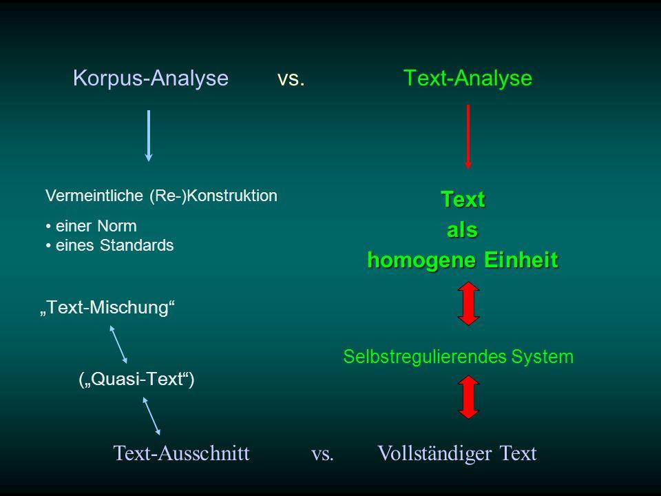 Korpus-Analyse vs. Text-Analyse Text-Mischung Vermeintliche (Re-)Konstruktion einer Norm eines StandardsTextals homogene Einheit Text-Ausschnitt vs. V