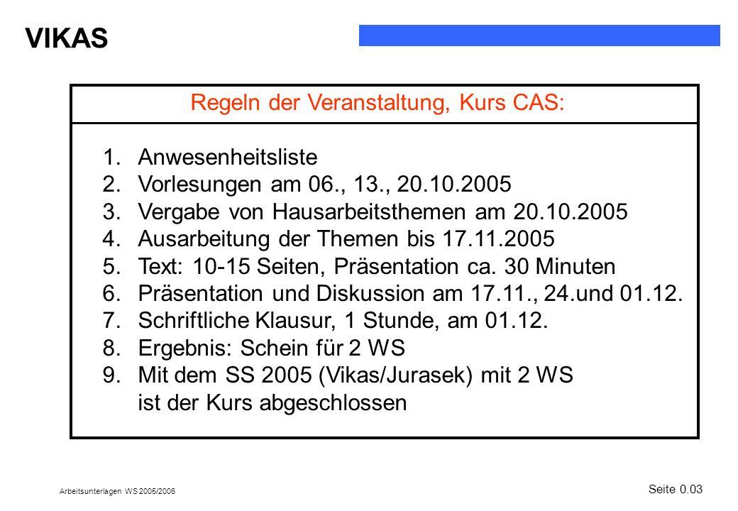 VIKAS Arbeitsunterlagen WS 2005/2006 Seite 0.03 Regeln der Veranstaltung, Kurs CAS: 1.Anwesenheitsliste 2.Vorlesungen am 06., 13., 20.10.2005 3.Vergab