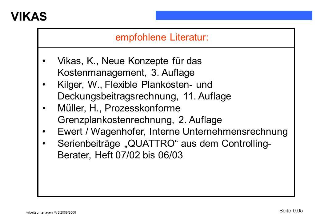 VIKAS Arbeitsunterlagen WS 2005/2006 empfohlene Literatur: Vikas, K., Neue Konzepte für das Kostenmanagement, 3. Auflage Kilger, W., Flexible Plankost