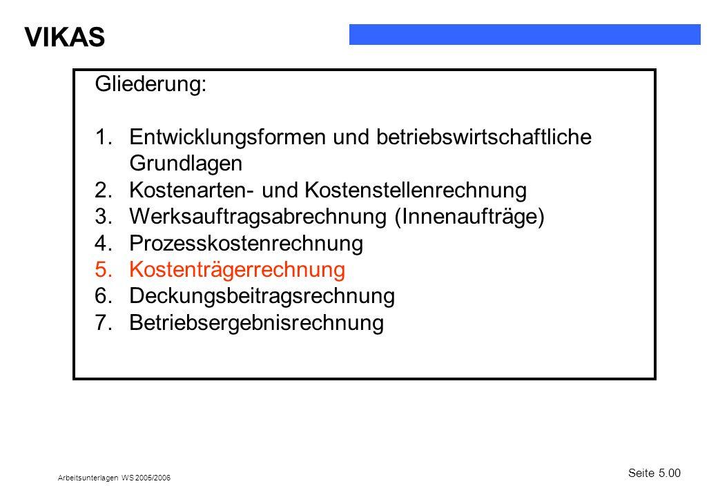 VIKAS Arbeitsunterlagen WS 2005/2006 Gliederung: 1.Entwicklungsformen und betriebswirtschaftliche Grundlagen 2.Kostenarten- und Kostenstellenrechnung